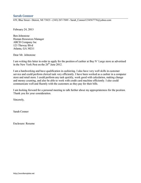 Cover Letter For Cashier by Cashier Cover Letter Template