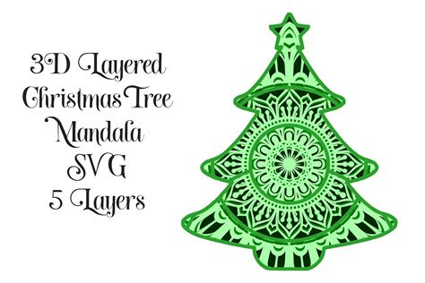 Available for download in png, svg and as a font. SVG Christmas Tree Mandala 3D Layered SVG - 5 Layers ...