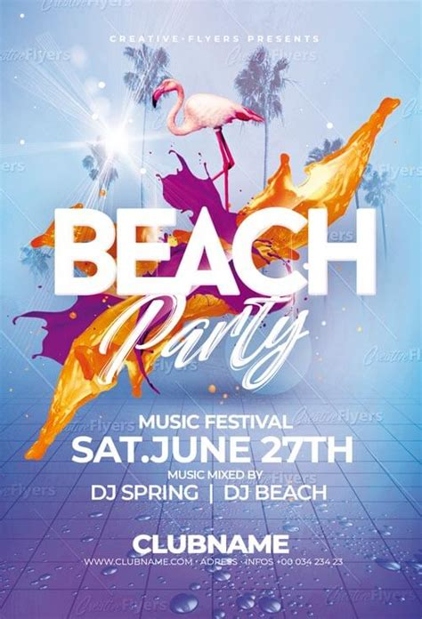 beach party flyer psd template photoshop files