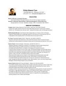 ministry resume exles curriculum vitae curriculum vitae exles for ministry