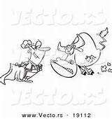 Coloring Charging Bull Matador Cartoon Outlined sketch template