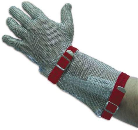 porte chambre froide occasion gant en maille inox à sangle avec manchette lioninox