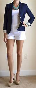 Outfit post white shorts navy blazer teal necklace | Outfit Posts