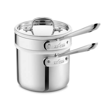 clad  stainless saucepan  porcelain double boiler insert  quart cutlery