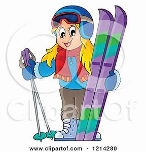 Clipart of a Happy Blond Cartoon Girl with Ski Gear ...