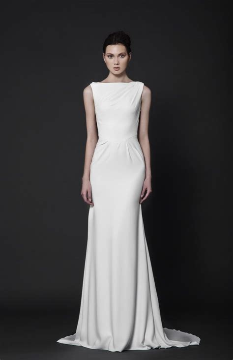 delicately pleated  white moroccan crepe evening dress