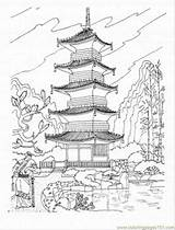 Pagoda Buddhist Coloring Japan Temple Japanese Drawing Pages Chinese Printable Tattoo Coloringpages101 Sightseeing Temples Colouring Architecture Drawings Shrine Castle Landscape sketch template