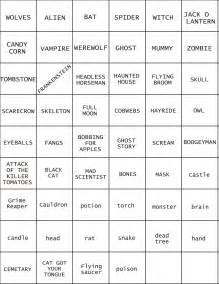 Halloween Pictionary Word List Printable