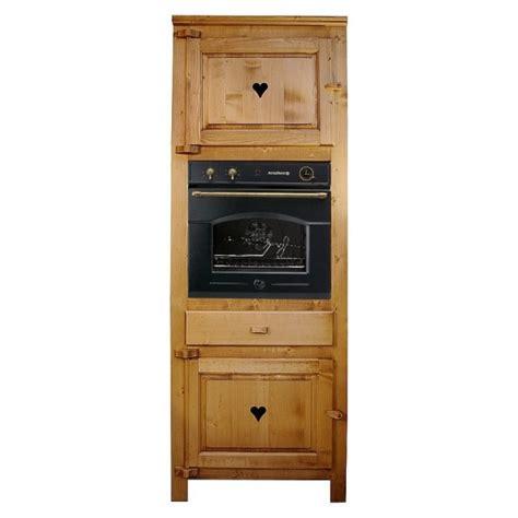 colonne four cuisine deux porte un tiroir bois massif coeur