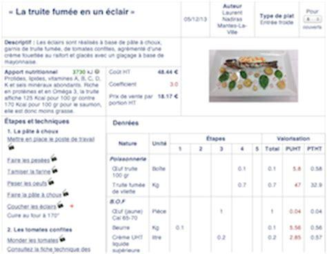 fiche technique cuisine logiciel gestion cuisine collective gratuit mouvement