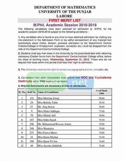 Merit Pu Mathematics University Punjab Phil Lahore