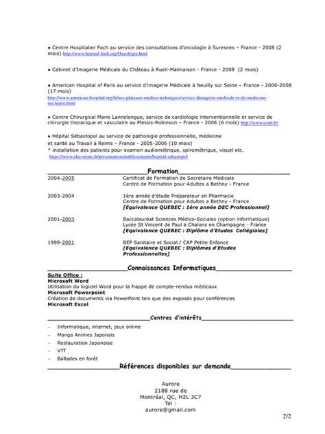 aper 231 u du fichier cv secr 233 taire m 233 dicale aurore pdf pvtistes pdf page 2 2