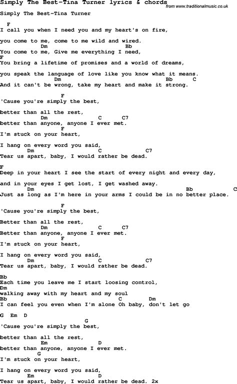 Testo The Best Of You by Song Lyrics For Simply The Best Tina Turner With Chords