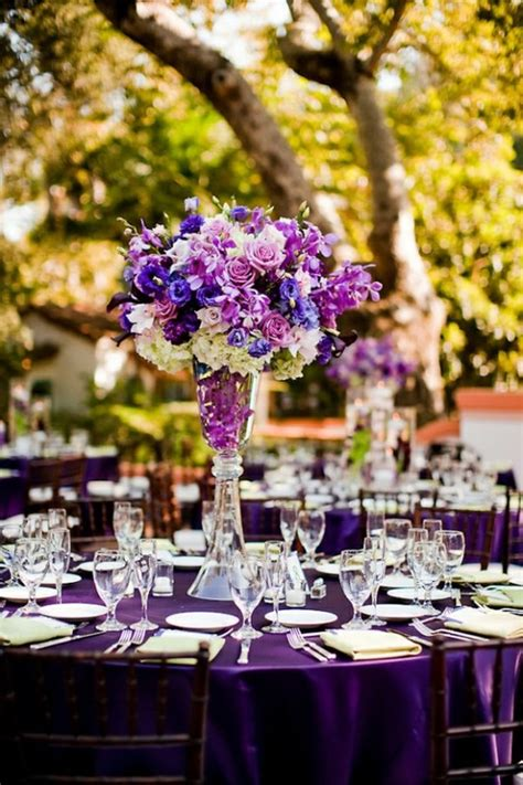 Picture Of A Bright Purple Tablecloth And A Lush Bright