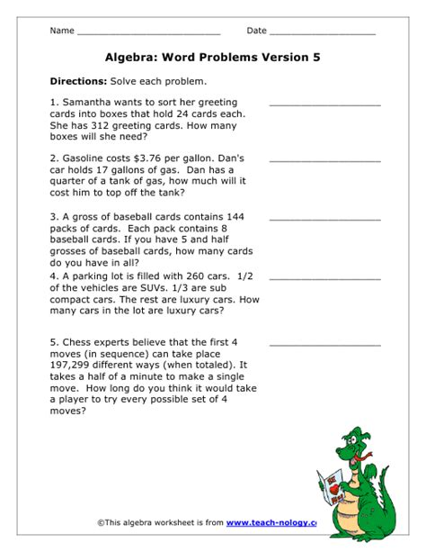 math sheets algebra based word problems version 5