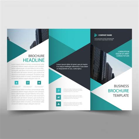 trifold template file green trifold business brochure template with triangular