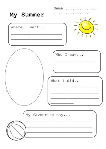 My Summer Holiday | Teaching Resources
