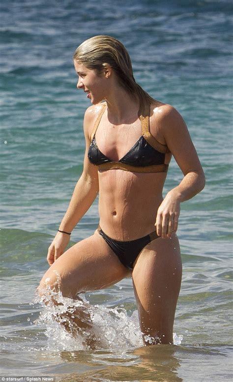emily rose bikini arrow star emily bett rickards wears a black bikini in