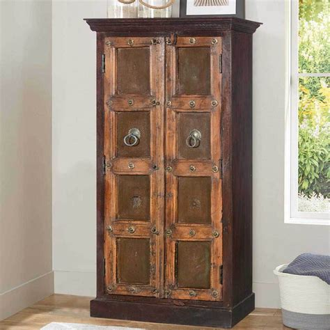 Wood Armoire by Goldsboro Mango Reclaimed Wood Brass Accent Handcrafted