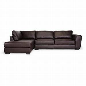 Baxton studio orland brown leather modern sectional sofa for Sectional sofas from sears