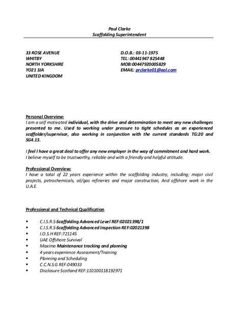paul clarke cv 01 scaffold superintendent