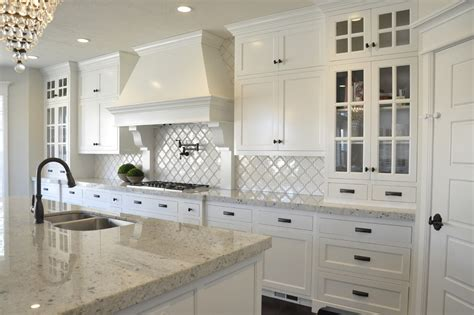 glass tile backsplash pictures for kitchen colonial white granite kitchen craftsman with chandelier