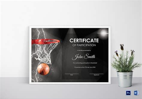 basketball certificate templates psd