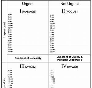 stephen covey worksheet With time management grid template