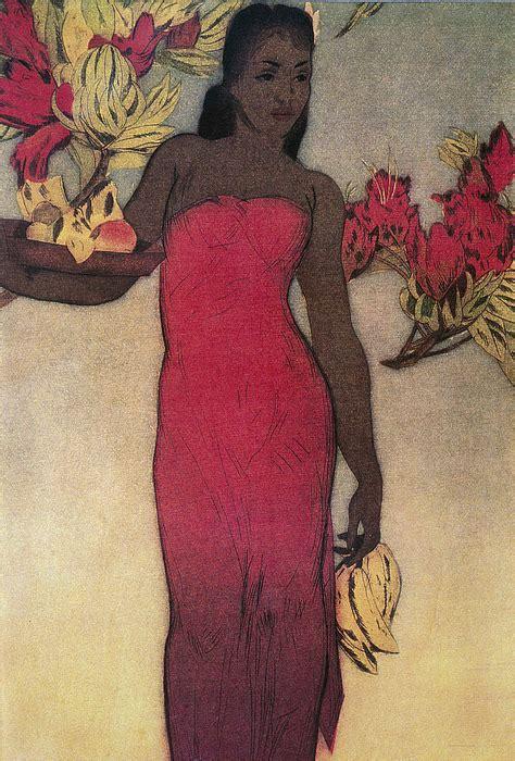 vintage hawaiian woman painting  hawaiiam legacy
