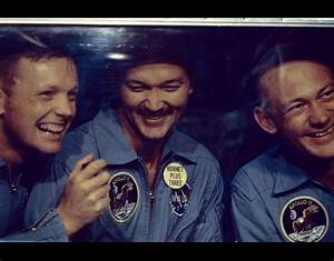 From left to right, Neil Armstrong, Michael Collins and ...