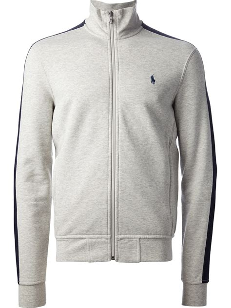 ralph polo sweaters polo ralph zipup sweater in gray for lyst