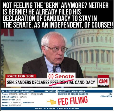 2018 Election Memes - no sanders did not file for re election as an independent in 2018