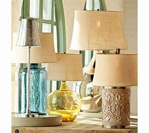 clift glass table lamp base light blue pottery barn With pottery barn floor lamp glass