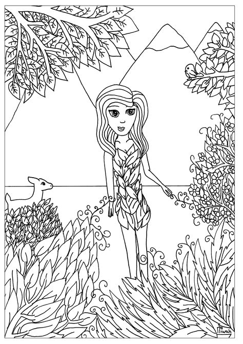 flower girl anti stress adult coloring pages