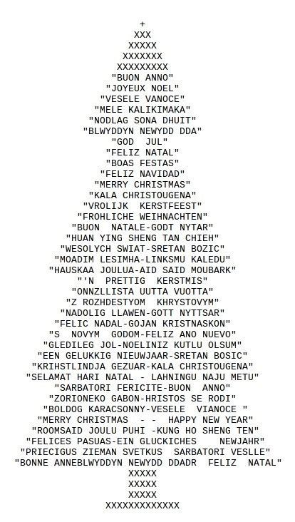 ascii christmas tree ascii tree with typed characters ascii ascii text