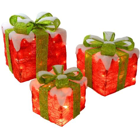 3 x festive and green light up sisal gift boxes