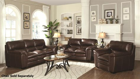 coaster burton 503971 503972 brown leather sofa and