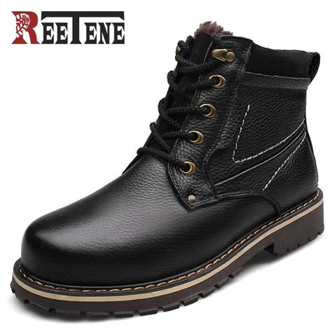 Reetene New Fashion Genuine Leather Men Ankle Boots Warm