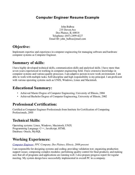 Objectives In Resume For Ojt Computer Science by Sle Resume For Computer Science Engineering Student