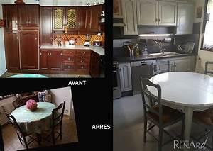 relooking cuisine galeries photos ateliers renard essonne With cuisine peinte grise