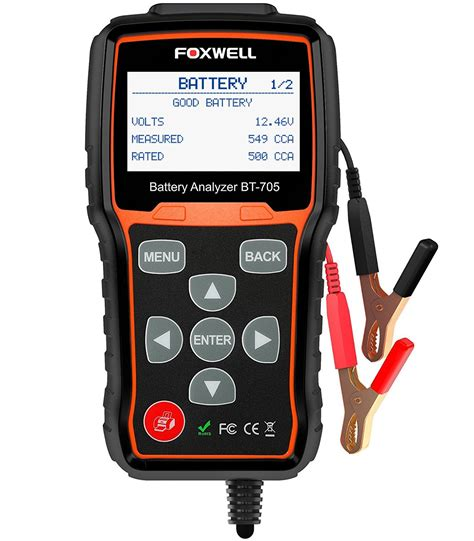 A car battery tester is an electronic device that enables you to test your car battery and ensure that it is operating at optimum levels. Mua Battery Tester FOXWELL BT705 Automotive 100-2000 CCA ...