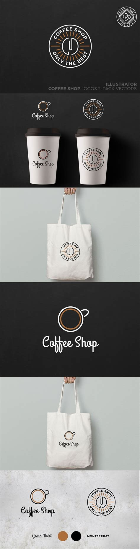 If you cannot think of any other name, you can always just use your name followed by cafe or coffee shop. These are two logo designs in vector format. Both fonts are included Montserrat & Grand Hotel ...