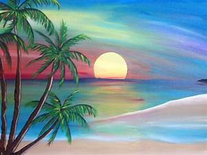 Sunset Beach Painting Original Artwork Beach Decor Beach