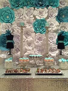 Gorgeous paper flower backdrop at a Tiffany & Co ...