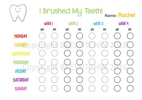 Tooth Brushing Chart 4 Colours