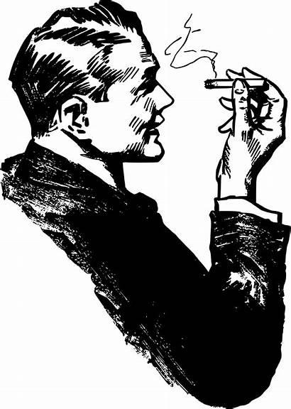 Cigar Smoking Clipart Sketch Cigarette Smoker Happy