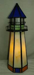 vintage stained glass nautical lighthouse accent table With glass table lamp and night light