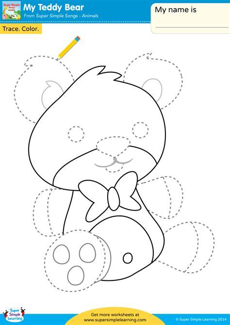 teddy bear worksheet trace color super simple