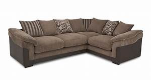 Dfs hallow brown fabric corner sofa with foam base for Corner loveseats