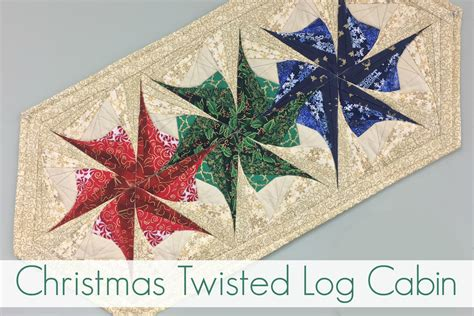 Twisted Log Cabin - Christmas Table Runner - Windy Moon Quilts